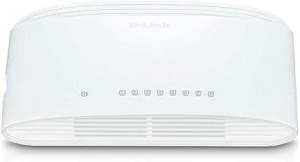 D-Link DGS-1008D 8-Port Gigabit Switch Desktop (10/100/1000 Mbit/s, bis zu 2000 Mbit/s pro Port im Full-Duplex-Modus, lüfterlos)