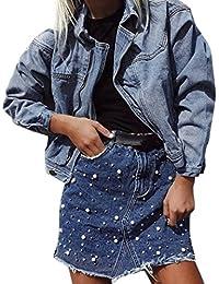Rock damen Kolylong® Frauen Elegant Hohe Taille Jeans Rock Sommer Vintage  Denim Rock Kurz Unregelmäßiges Röcke… 47a59e2cb4