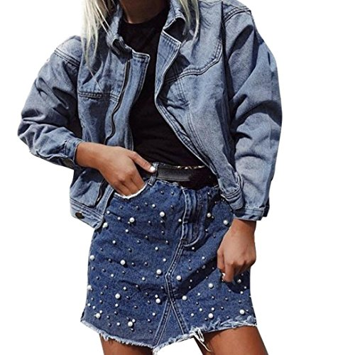 Rock damen Kolylong® Frauen Elegant Hohe Taille Jeans Rock Sommer Vintage Denim Rock Kurz Unregelmäßiges Röcke Midirock Mädchen Mini Rock Party Bodycon Bleistiftrock Skirt Maxi (Blau, S) (Split-jeans-rock)