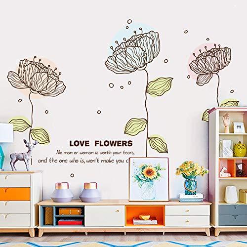 Pastorale Schlafzimmer Dekorative Aufkleber, Literarische Frische Pflanzen, Topf Wohnzimmer, Veranda Sofa, Wandsticker, Leichte Florale Wandsticker
