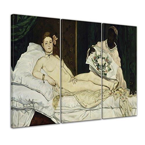 Wandbild Édouard Manet Olympia - 150x90cm mehrteilig quer - Alte Meister Berühmte Gemälde Leinwandbild Kunstdruck Bild auf Leinwand