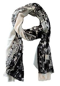 azzesso - Damen Schaltuch Paris, 100% elegante Stola, großes Tuch, Motiv Paris Skyline und Eiffelturm …