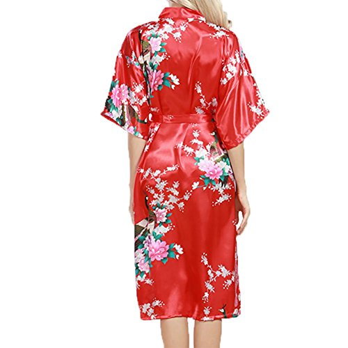 YUYU Nachthemden Frauen Sommer Bademantel Nachthemd Seide Weiche Pyjamas Eine Vielzahl von Farben zur Auswahl Red