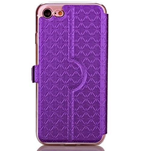 """Trumpshop Smartphone Case Coque Housse Etui de Protection pour Apple iPhone 7 Plus 5.5"""" + Bleu + Voir fenêtre PU Cuir Portefeuille Les Fentes de Carte de Crédit Fonction Support Anti-Choc Violet"""