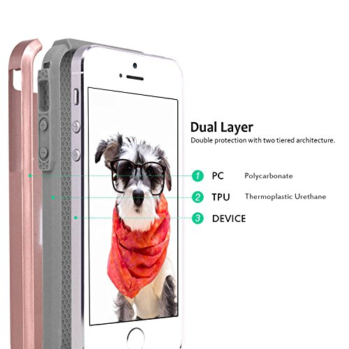 Custodia iPhone 5S, Custodia iPhone 5, Custodia iPhone SE, Hinpia Elegante Antiurto Ibrida Duro Morbido TPU Bumper Custodia Case Cover Protezione per Apple iPhone SE, iPhone 5s/5 (Dorato/Dorato) Oro Rosa/Grigio