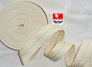 45mm Original Looking World War 2 Webbing Natural Cotton Parachute Rigger Harness WW2 Strap Webbing Strap Recreation Military Items Green 5 Meter Tyagi Craft