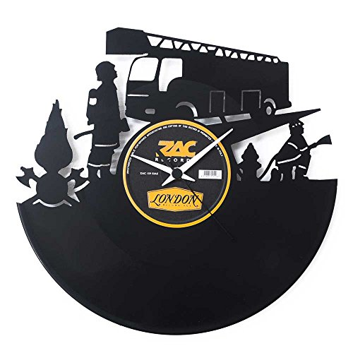 feuerwehr wanduhr Feuerwehr Geschenkidee Uhr aus Vinyl Schwarz Vinyluse original Prämie