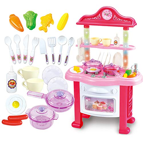 Wdxin casa delle bambole puzzle giocattolo giocattolo da cucina musica d'illuminazione multifunzione simulata acqua riciclabile set da cucina.
