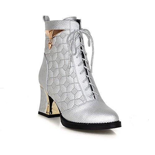 AllhqFashion Damen Hoher Absatz Rein Rund Zehe Weiches Material Stiefel mit Schnalle, Cremefarben, 39