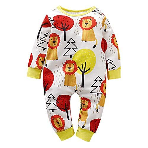 Borlai Baby Fashion Kleidung Cartoon-Baum Löwe Print Outfit Langarm Kleinkind Body Kleidung,0-3 Monate, gelb -