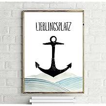 Lieblingsplatz Anker Kunstdruck, Poster 30x40cm - Premium Qualität 200g/m² - Close Up®