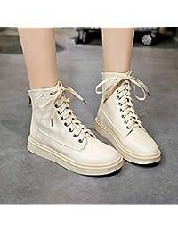 Shukun Botines Zapatos Botas para Mujer Primavera y otoño Botas Individuales Tubo Corto Botas de Martin