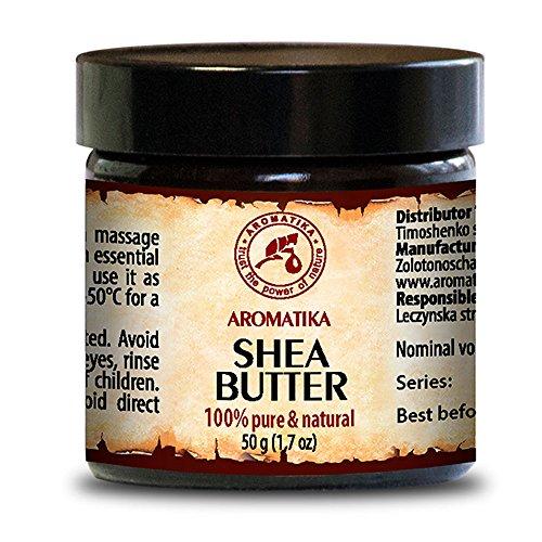 Shea Butter Gutes Haar (Shea butter / Sheabutter 100 % rein und natürlich, raffiniert Karité Body Butter 50 ml, Glasflasche, Ghana, Afrika, Körperbutter, natürlichen Gehalt an gesättigten, ungesättigten Fettsäuren, nährend, intensive Pflege Gesicht, Körper, Haare, trockene empfindliche Haut, Hände, Lippen, Anti-Falten, Anti-Aging, nach Sonnenbad, gut mit ätherischem Öl, für Schönheit/Aromatherapie / Massage / Wellness / Kosmetik / Körperpflege / Multi-funktionales /Hypoallergen von AROMATIKA (50ml))