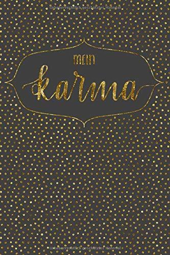 Mein Karma: Sammelheft für deine Karmapunkte - Übersicht deiner guten Taten - themenbezogen - Polkadots grau/gold - Geschenkbuch - 120 Seiten - ca. DIN A5 -