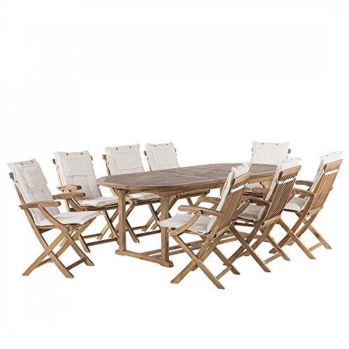 Gartenmöbel - ausziehbarer Gartentisch + 8 Stühle mit Beigen Auflagen - JAVA