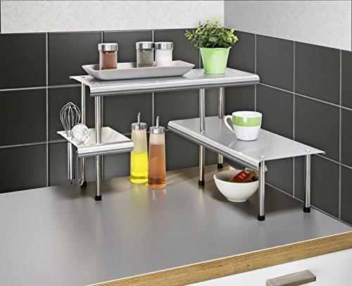 eckregale kueche WENKO 2035030500 Küchen-Eckregal Massivo Trio mit 3 Ablagen, Edelstahl rostfrei, 50 x 31 x 50 cm, Silber