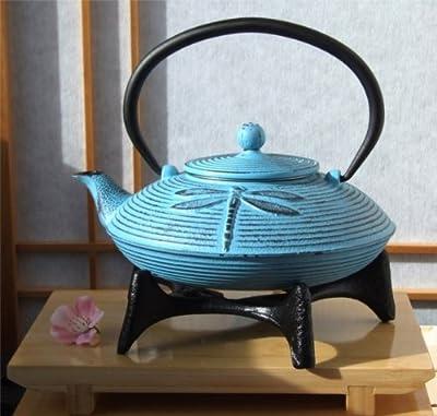 Star Bleu et dessous de plat en fonte d'inspiration japonaise avec repose-théière 0,8l Motif libellule style japonais