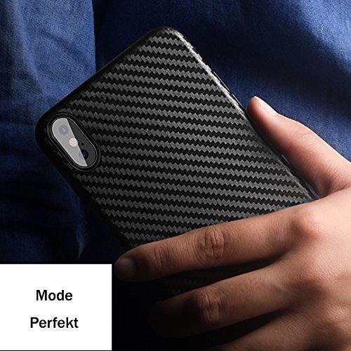Iphone 7 Carbon-Faser Textur Hülle + Vollständige Abdeckung Schutzfolie,SUNAVY 360-Grad Anti-stoß Anti-Kratzer Ultra-Dünn Ultra-Leichte Schutzhülle für Apple7,4.7zoll,Schwarz Schwarz
