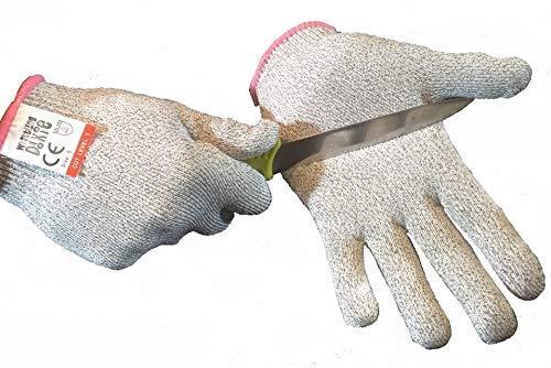 • Tutti sappiamo quanto sia fastidioso quando ci si taglia un dito mentre si prepara del cibo.Non solo fa male, ma sanguinare mentre si prepara del cibo è antigienico. Con i guanti anti-taglio Whistling Dixie EN388 dilivello 5, potrete tagliare e pr...