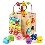 Multifunktions-Spielwürfel aus Holz, 5-in-1-Aktivitätswürfel für frühe Lernen, Xylophon, Spielzeug für Kleinkinder