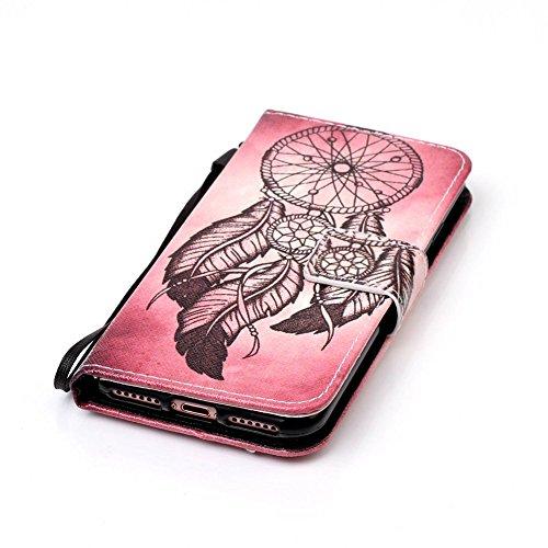 iPhone 7 Brieftasche,iPhone 7 Flip Case Cover, Aeeque® Glitzer Luxus [Schwarz Rosegold Spleiß Stil] Kartenfach Standfunktion Handytasche für iPhone 7 mit Abnehmbar Handy Lanyard und Weich Silikon Inne Bild Vintage Traumfänger