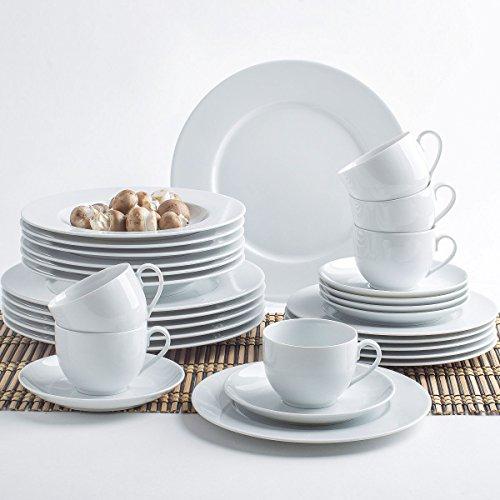 6-teilig Set Tellerservice f/ür 6 Personen in stilvoller Qualit/ät Teller-Set Geschirr-Set Speiseteller Dessertteller Farbe Fr/ühst/ücksteller 19 cm Essteller