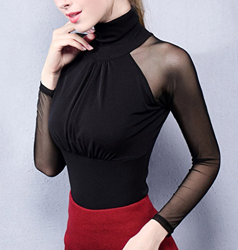 Smile YKK Modern Spleiss Damen Hohe Kragen Langarm Pullover Pulli Sweater Oberteil Casual Shirts Top Schwarz
