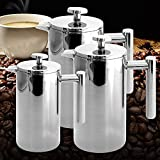 KITCHY New 0.35L 0.8L 1L Polished Delicate Double Wall Stainless Steel French Press Coffee Pot Maker Coffee Tea With Filter: 800ML