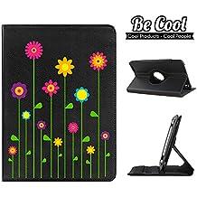 BeCool® - Funda carcasa Giratoria 360 grados tipo libro para proteger tu tablet Wolder miTab Colors 10.1, protege y se adapta a la perfección a tu tablet, con nuestro diseño exclusivo, con sistema de rotación y modo función stand en color negro. Flores