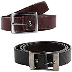 Mango People Combo of Black Brown Casual H-Belt For Men