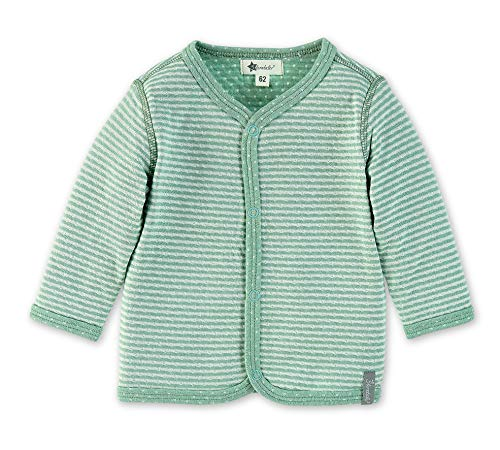 Sterntaler Jacke für Babys mit Druckknöpfen, Streifen- und Pünktchenmuster, Alter: 4-5 Monate, Größe: 62, Grün