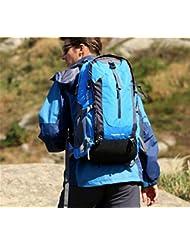 Impermeables mochilas hombres y mujeres 50L mochila al aire libre bolso bandolera de viaje , blue 50 litres