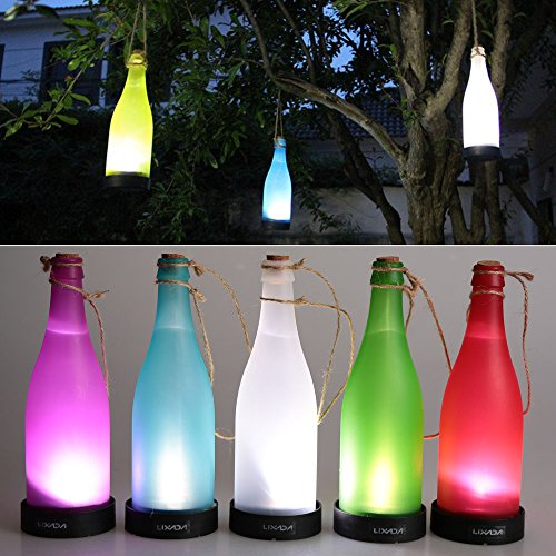 Lixada 5PCS Solarbetrieben Kork Weinflasche LED Hängende Lampe für Outdoor Party Garten Innenhof Terrasse Spazierweg Dekoration