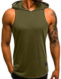 QinMM Camiseta Agujero Para Hombre, Tops Blusa Casual de Verano de Manga Corta Delgado Deportes Camisa LISO