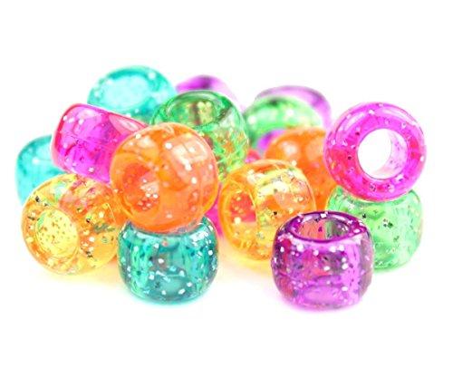 250x Pony Perlen 9mm x 6mm Jelly Sparkle Mix-Armbänder Flechten Clips Haar Farbe Acryl Kunststoff, fassförmig, rund-Perlen und Charms - Sparkle Jelly