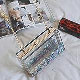 QSM Épaule Diagonale Cross-Flowing Sand Petit Paquet Carré Liquide Glitter Transparent Hard Box Femelle Sac Dîner Embrayage,Bleu,A