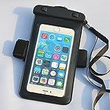 PHARRI-Custodia universale impermeabile, Borsa a secco con fascia da braccio per nuoto, barche del Rafting, sci, vestibilità SE/iPhone 5/5S/5C, iPhone 6 Plus/6S, Samsung S3/S4 con altri dispositivi Smart, nero, iPhone 6 Plus