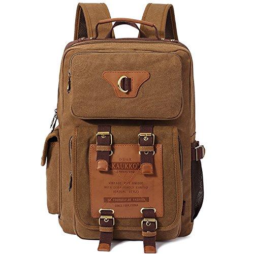 Vintage Rucksäcke, KAUKKO Damen Herren Schulrucksack Retro Stylisch Backpack für Outdoor Reisen Wandern mit Großer Kapazität (Khaki-A)