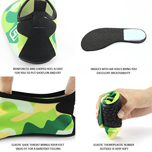Scarpe Da Acqua Drcosy Kiner Scarpe Da Mare Unisex Per La Spiaggia Di Nuoto Surf Yoga Camouflage / Erba Verde