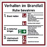 Schild Aushang Verhalten im Brandfall Kunststoff 18 x 18 cm (Verhaltensregeln, Brandschutz Feuer/Notfall) wetterfest