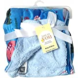 N&M Double Layer Velvet Fleece Newborn Printed Baby Blanket (BlueElephant)