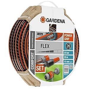 Gardena Set Flex Ø 15 mm con 20 m de Manguera, Lanza y Accesorios de riego, Estándar, 5/8″ X 66′