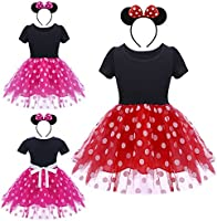 Ragazza Costume da Minnie Vestito Principessa Balletto Tutu Danza Body Ginnastica Polka Dots Cerchietto con Orecchie per Carnevale Festa di Compleanno Abito 12 Mesi-6 Anni