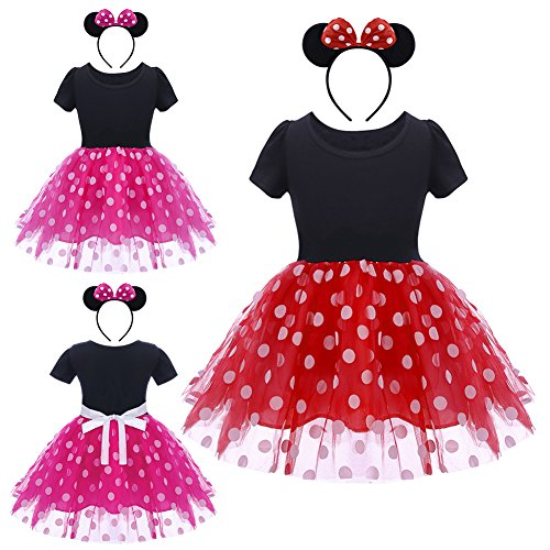 Infant Baby Toddlers Girls Christmas Polka Dots Leotard Birthday Princess Bowknot Tutu Dress Xmas Cosplay Pageant Cute Mouse Dress up Fancy Costume Party Outfits with 3D Ears Headband 1-6 Years