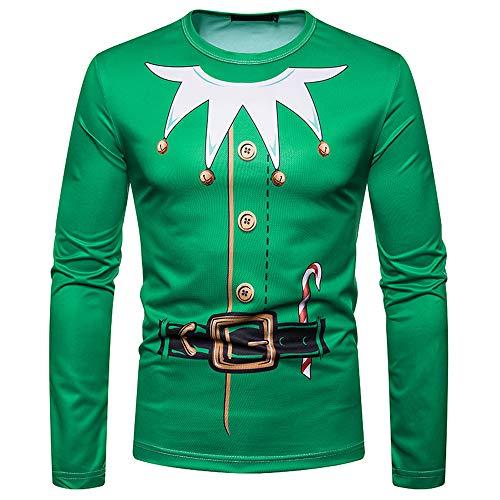 SEWORLD Weihnachten Christmas Herren Abend Party Männer Weihnachtskostüm Sankt Drucken Urlaub Humor Langarm T-Shirt Xmas Top(X1-3-grün,EU-48/CN-M)