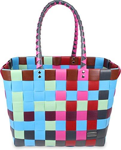 normani Einkaufskorb Shopper geflochten aus Kunststoff - robuster Strandkorb aus wasserabweisendem Material Farbe Classic/Fairytale