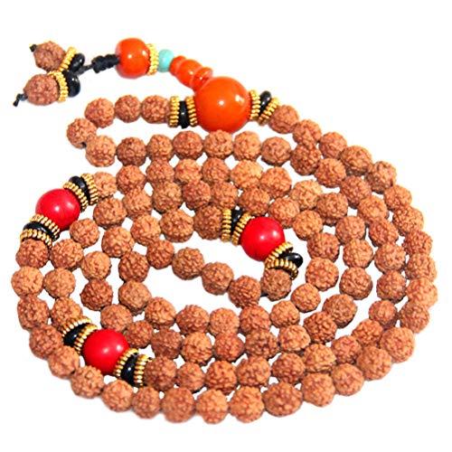 HEALIFTY Rudraksha 108 Buddha Armband Perlen Halskette Wrist Wrap Armband für Frauen Männer (zufällige Farbe der Perlen) - Gebet Buddhismus Halskette Perlen