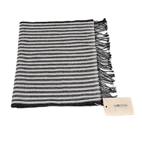 100% Cashmere Sciarpa uomo, cashmere sciarpa a righe grigio bianco e nero, cashmere della Mongolia (26/2 filato) di cachemire di fascia alta