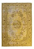 Teppich Wohnzimmer Carpet Vintage Design Nostalgia 385 Rug Blumen Muster Baumwollmischung 80x150 cm Gold/Teppiche günstig online kaufen