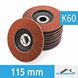 10 Stück Fächerscheiben 115 mm Körnung 60 Fächerschleifscheibe Braun Schleifmopteller